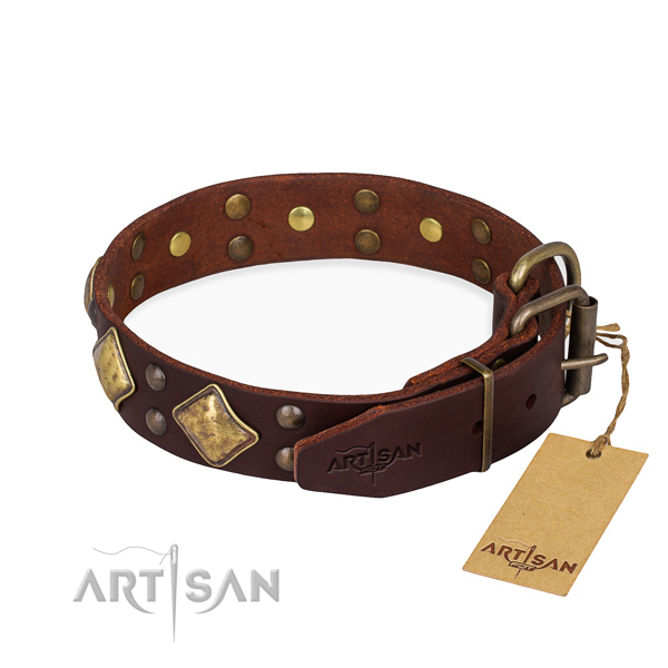 Full grain natural leather dog collar with amazing durable decorations