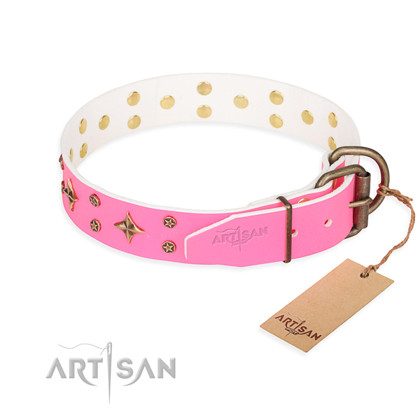 High quality studded dog collar of full grain natural leather