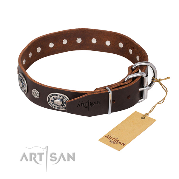 Quality full grain natural leather dog collar handcrafted for basic training