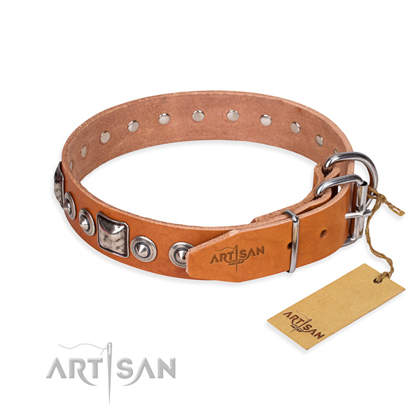 Genuine leather dog collar made of flexible material with corrosion proof studs