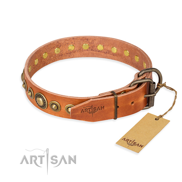 Top rate natural genuine leather dog collar handmade for comfy wearing
