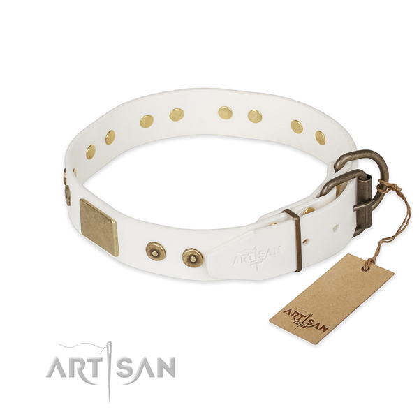 Full grain natural leather dog collar with reliable D-ring and adornments