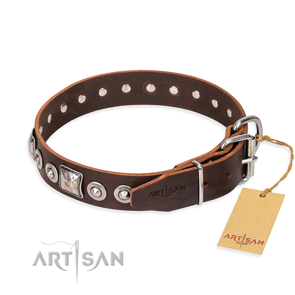 Genuine leather dog collar made of reliable material with strong decorations
