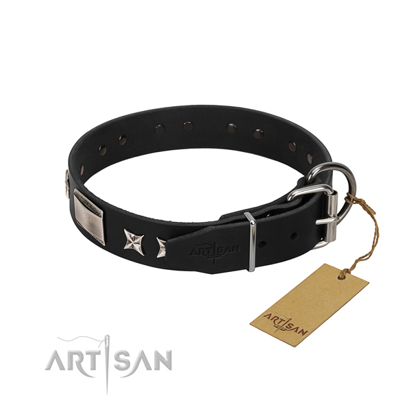 Quality full grain genuine leather dog collar with corrosion resistant traditional buckle