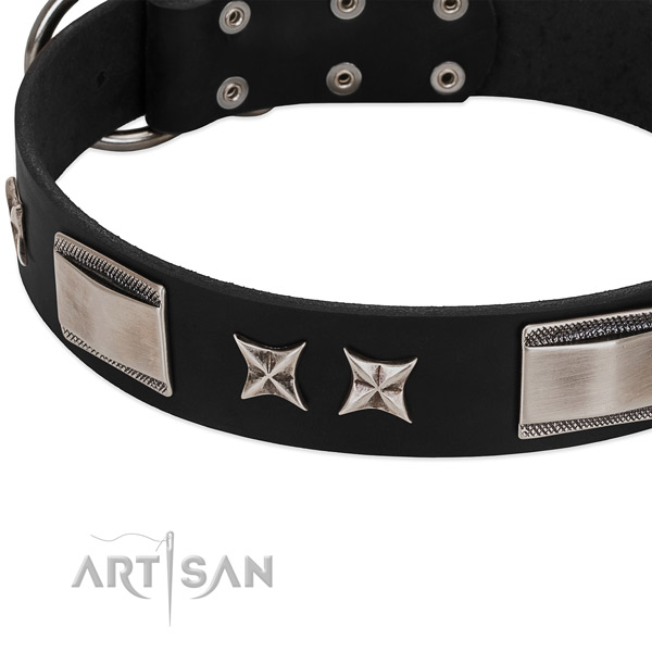 Flexible genuine leather dog collar with rust-proof buckle