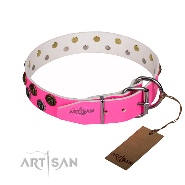 Easy wearing adorned dog collar of high quality genuine leather