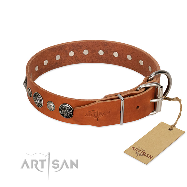 Reliable full grain genuine leather dog collar with corrosion resistant hardware