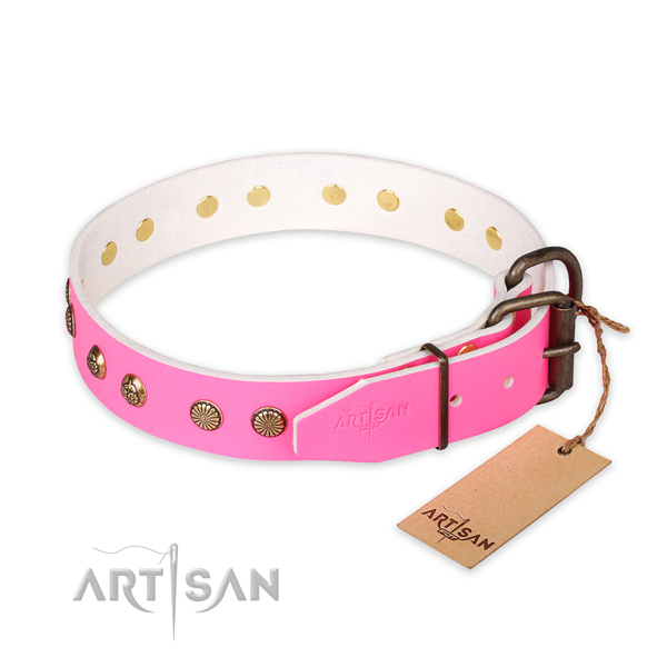 Rust resistant hardware on full grain natural leather collar for your lovely doggie