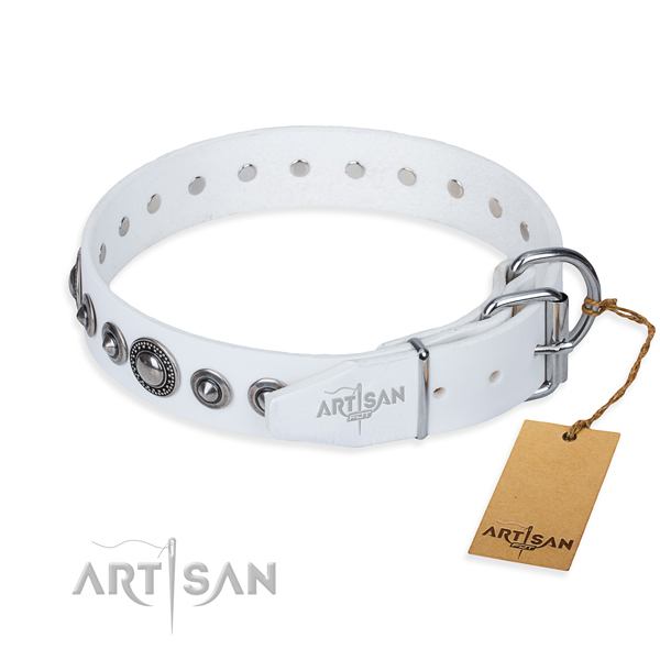 Full grain leather dog collar made of best quality material with corrosion proof adornments