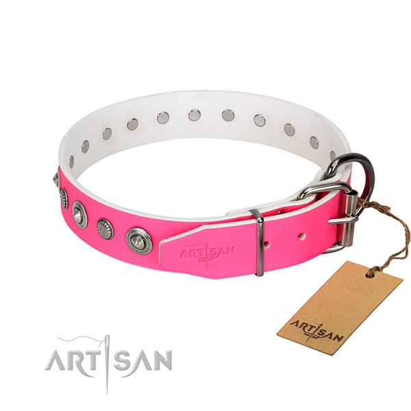Durable full grain genuine leather dog collar with fashionable decorations