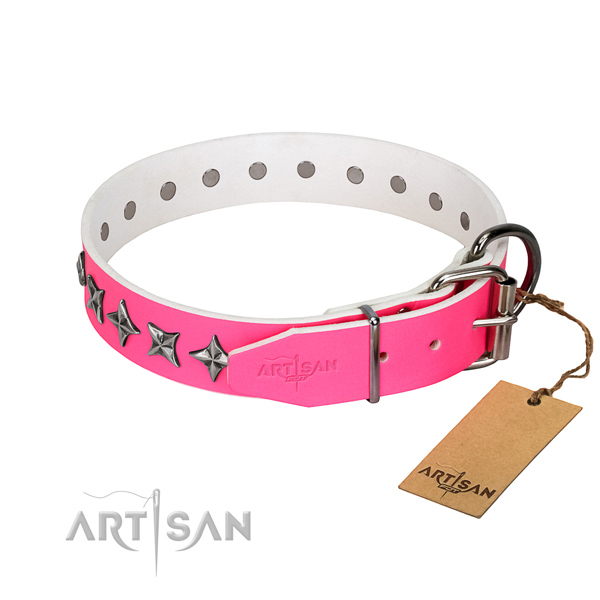 Durable full grain genuine leather dog collar with awesome studs