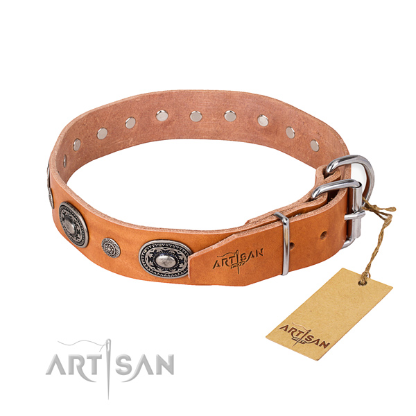 High quality natural genuine leather dog collar created for handy use