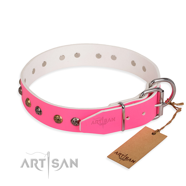 Natural leather dog collar with exquisite corrosion resistant adornments