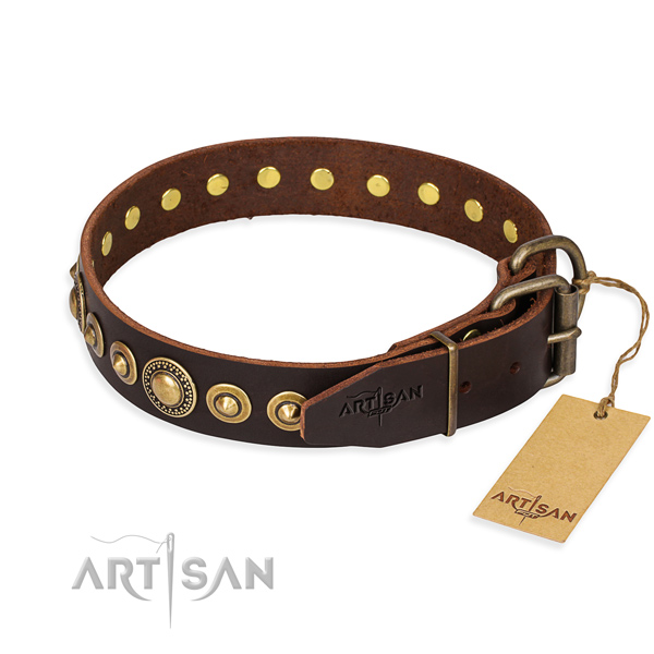 Top notch full grain natural leather dog collar handcrafted for easy wearing