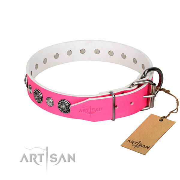Top rate genuine leather dog collar with corrosion resistant hardware