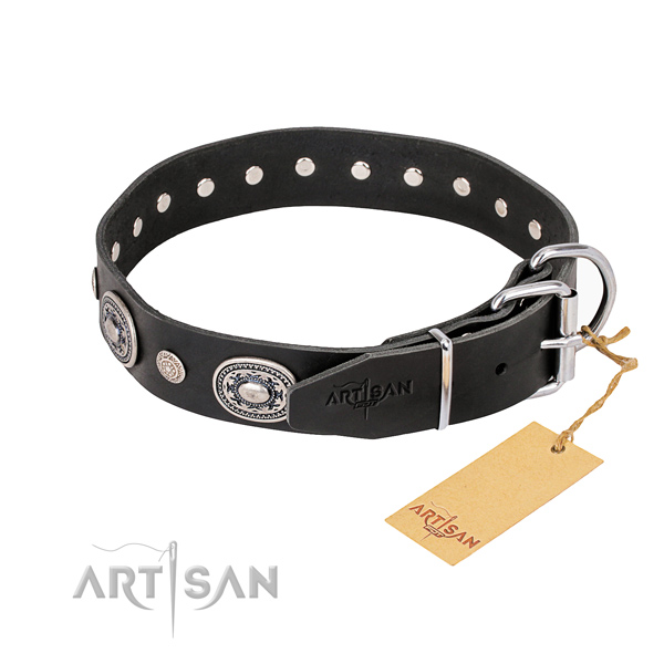 Gentle to touch full grain genuine leather dog collar handcrafted for comfortable wearing