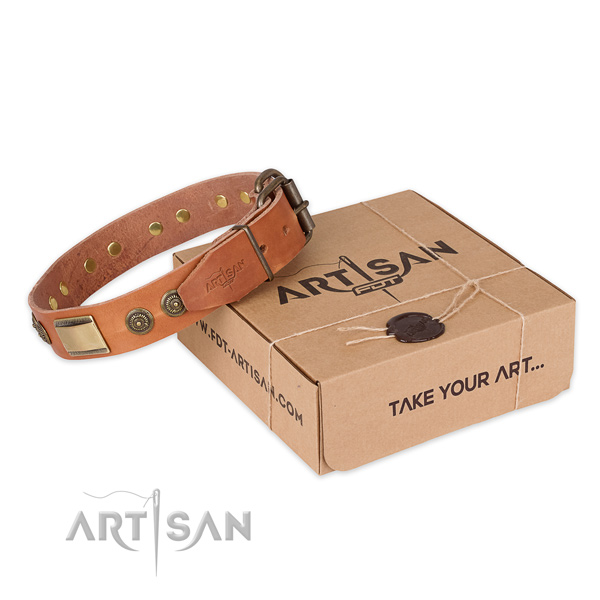 Corrosion proof hardware on natural genuine leather dog collar for comfortable wearing