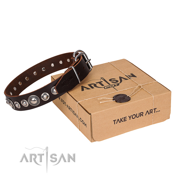 Fine quality full grain genuine leather dog collar