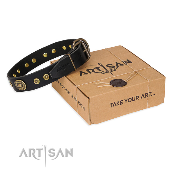 Full grain genuine leather dog collar made of soft material with rust-proof D-ring