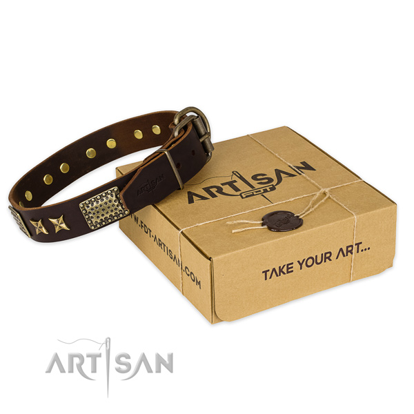 Corrosion proof fittings on full grain genuine leather collar for your handsome doggie