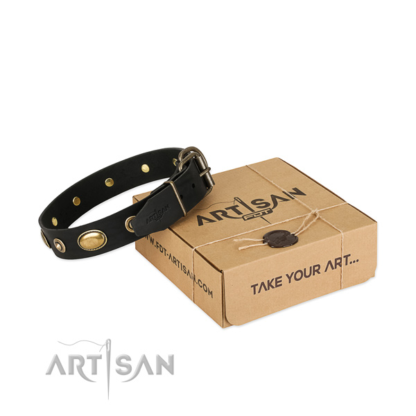 Strong traditional buckle on leather dog collar for your four-legged friend
