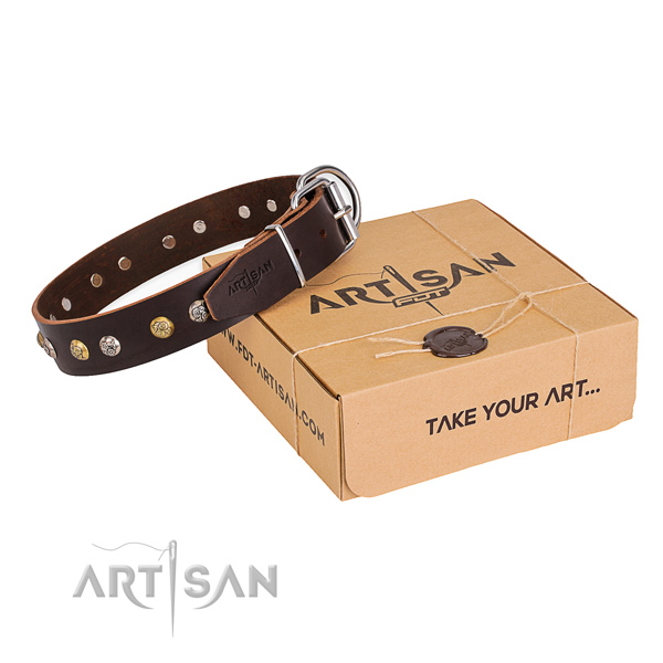 Flexible full grain natural leather dog collar made for comfortable wearing