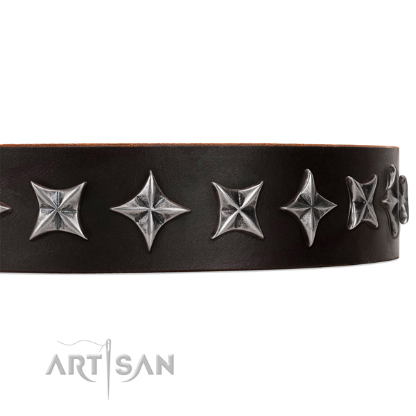 Basic training decorated dog collar of best quality natural leather