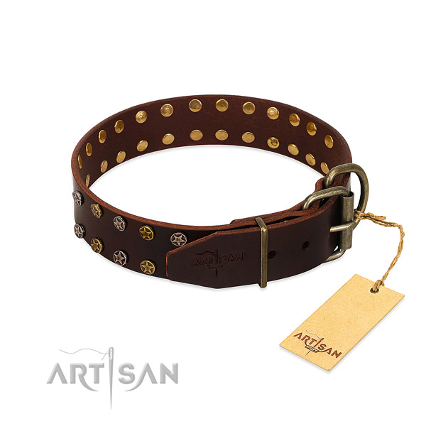 Comfy wearing full grain leather dog collar with trendy decorations
