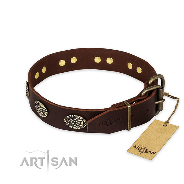 Durable D-ring on full grain natural leather collar for your stylish doggie