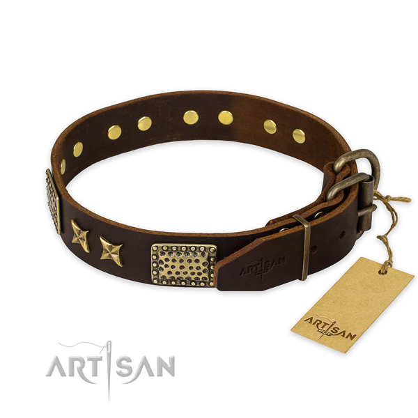 Corrosion resistant fittings on full grain leather collar for your lovely canine