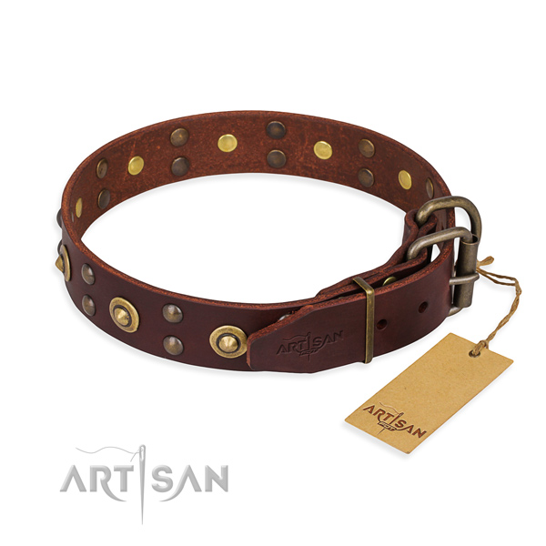 Corrosion proof D-ring on genuine leather collar for your stylish four-legged friend