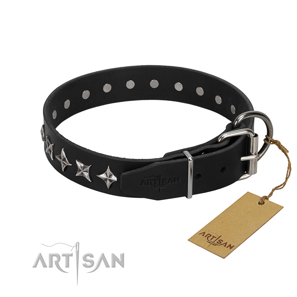 Easy wearing adorned dog collar of high quality full grain genuine leather
