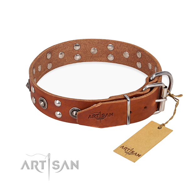 Corrosion proof traditional buckle on full grain leather collar for your lovely canine