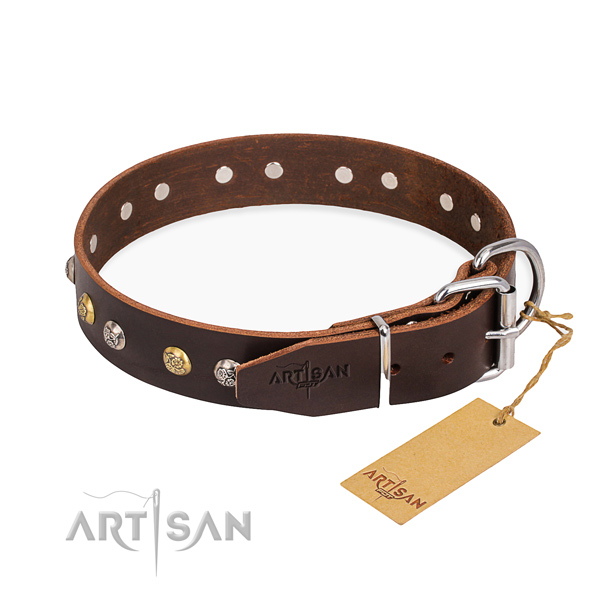 Durable full grain genuine leather dog collar handcrafted for daily walking