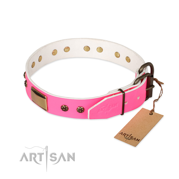 Genuine leather dog collar with strong D-ring and decorations