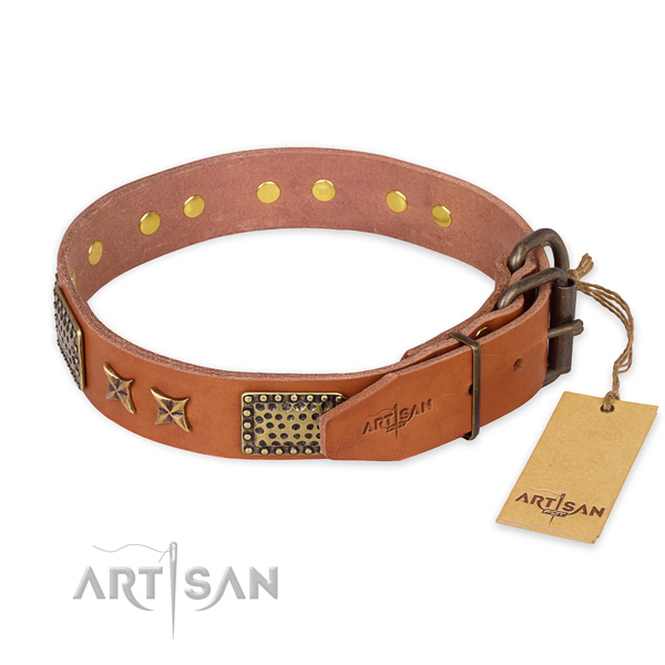 Corrosion resistant hardware on genuine leather collar for your handsome doggie