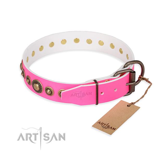 Gentle to touch genuine leather dog collar created for everyday use