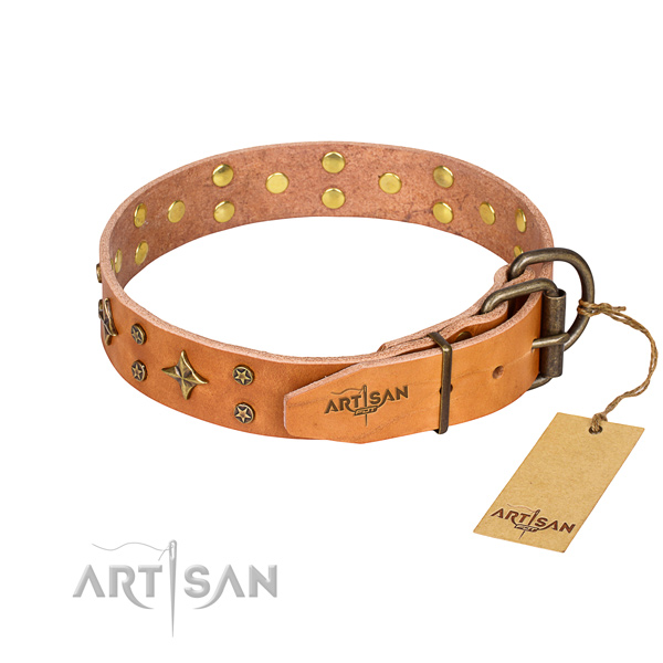 Easy wearing embellished dog collar of top quality genuine leather