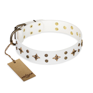 """Bright Stars"" FDT Artisan White Leather Amstaff Collar with Old Bronze Look Decorations"