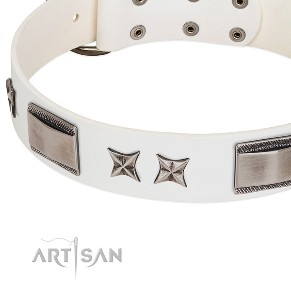 Soft genuine leather dog collar with reliable hardware