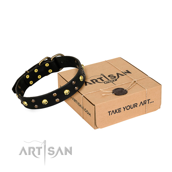 Basic training dog collar of best quality genuine leather with embellishments