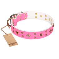 """Chi-Chi Pink Rose"" FDT Artisan Leather Amstaff Collar with Decorations"