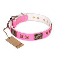"""Tender Pink"" FDT Artisan Leather Amstaff Collar with Old Bronze Look Stars and Plates"