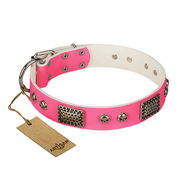 """Fashion Skulls"" FDT Artisan Pink Leather Amstaff Collar with Old Silver Look Plates and Skulls"