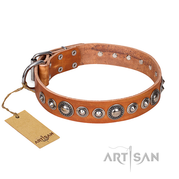 Full grain natural leather dog collar made of quality material with durable D-ring