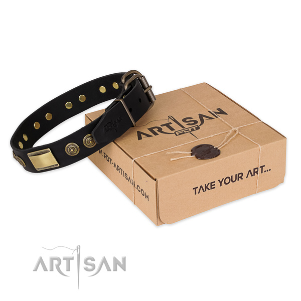 Durable hardware on full grain genuine leather dog collar for daily use