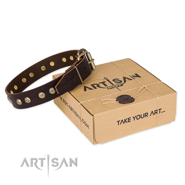 Strong fittings on full grain genuine leather collar for your impressive doggie