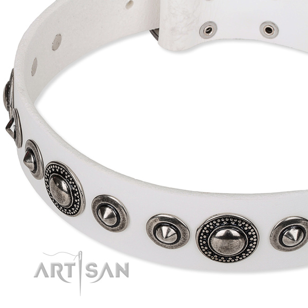 Easy wearing embellished dog collar of strong full grain natural leather