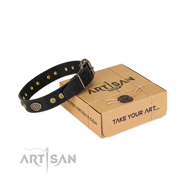 Corrosion proof hardware on full grain leather dog collar for your dog