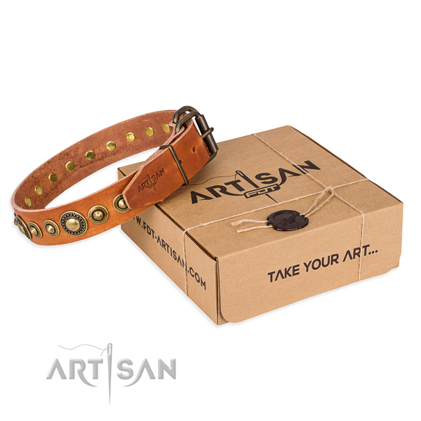 Gentle to touch leather dog collar handcrafted for fancy walking